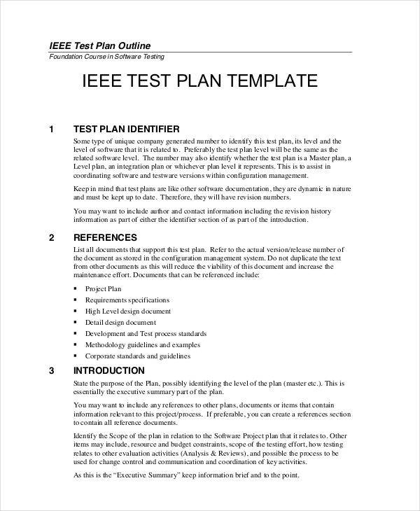 Sample Test Plan  Free Sample Example Format Download