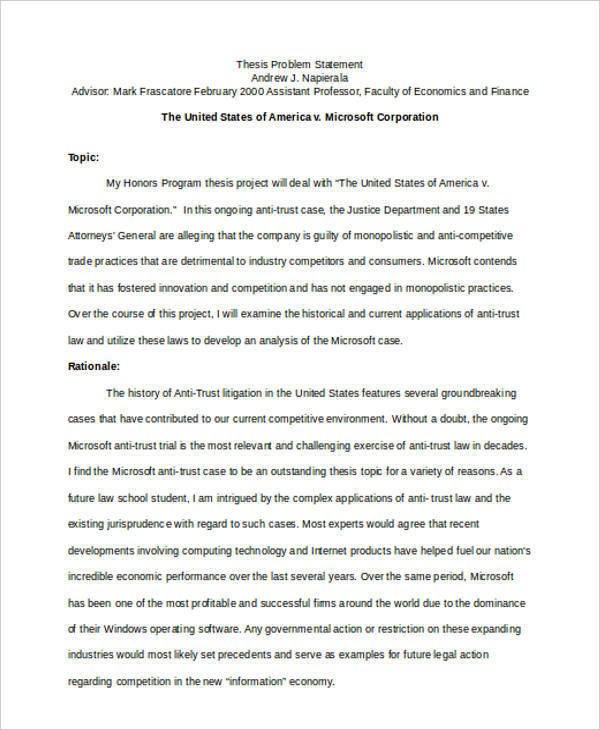 thesis problem statement