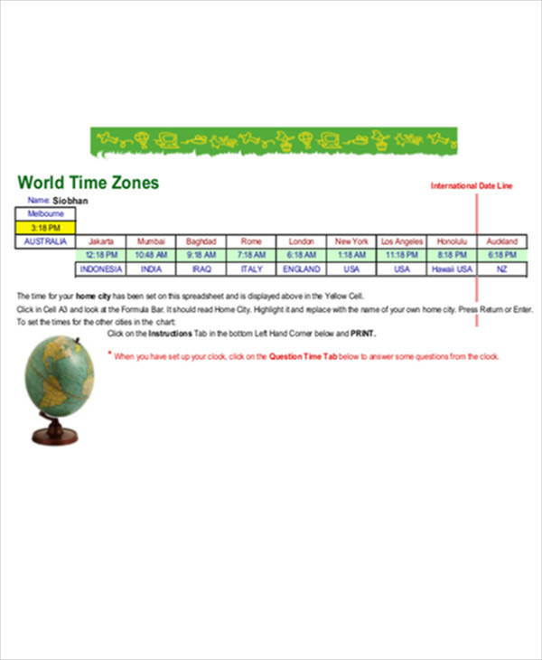 time zone comparison chart
