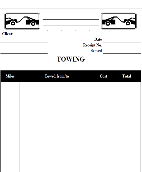 towing company receipt