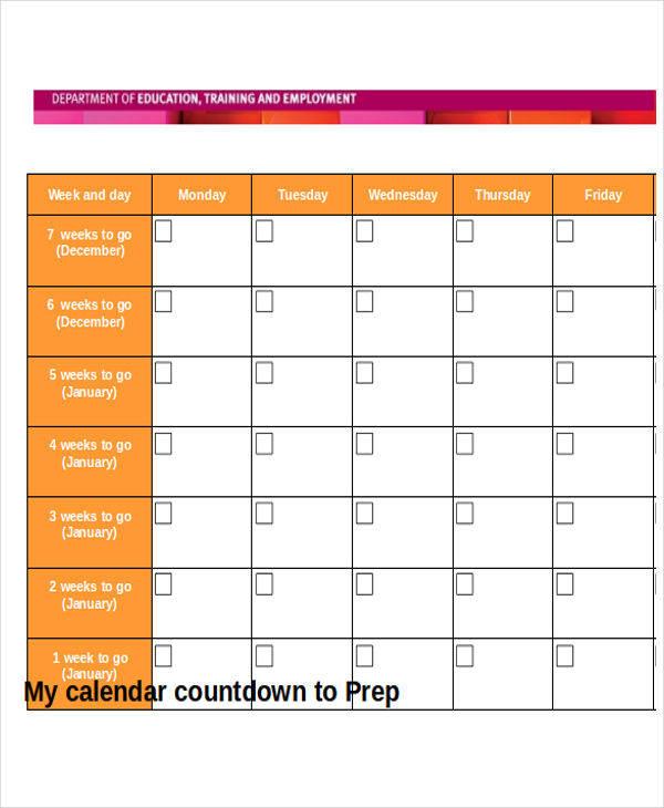 training countdown calendar