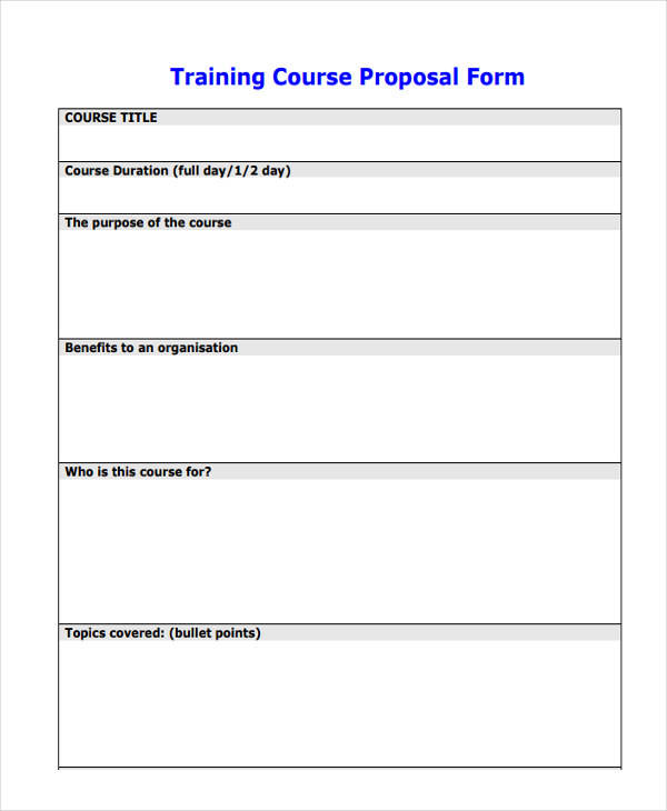 training course proposal
