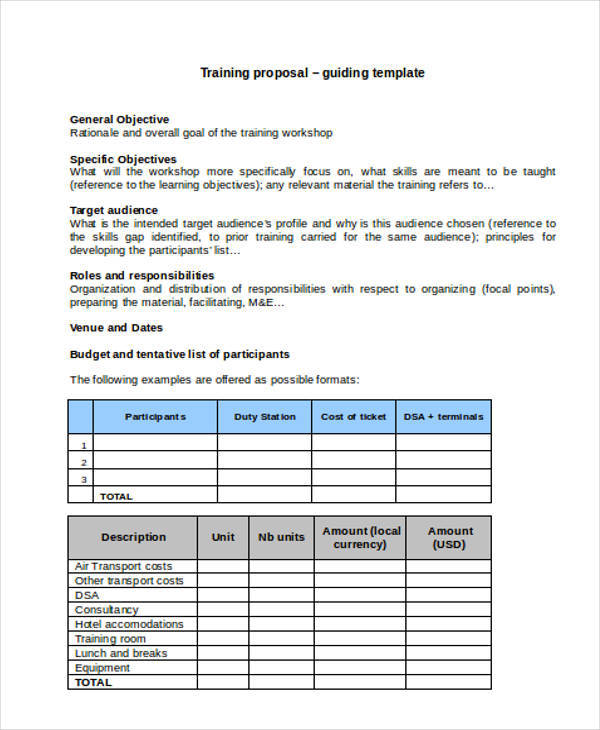 Training Proposal Template   Examples In Word Pdf