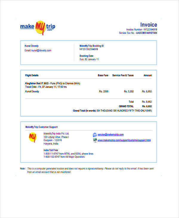 travel ticket invoice