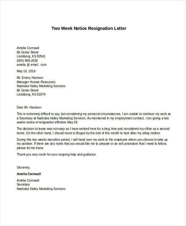 two week notice resignation