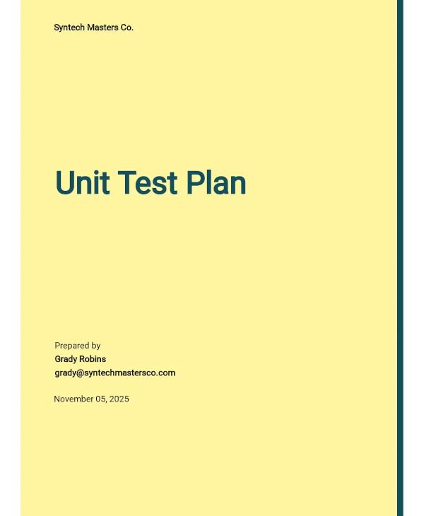 unit test plan template