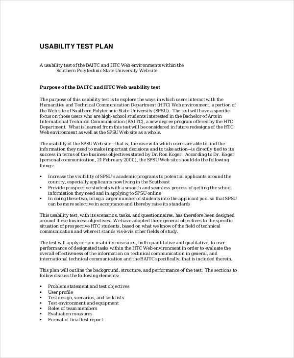 8 test plans samples templates sample templates for Usability test plan template