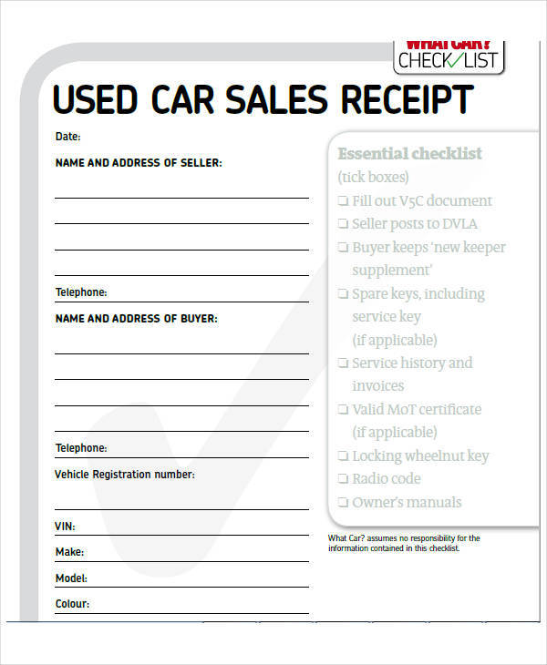 used car purchase invoice