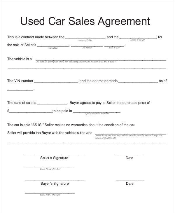 Car Sales Contract  Free Sample Example Format Download