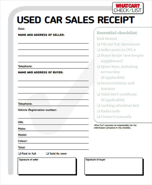 used car sales receipt