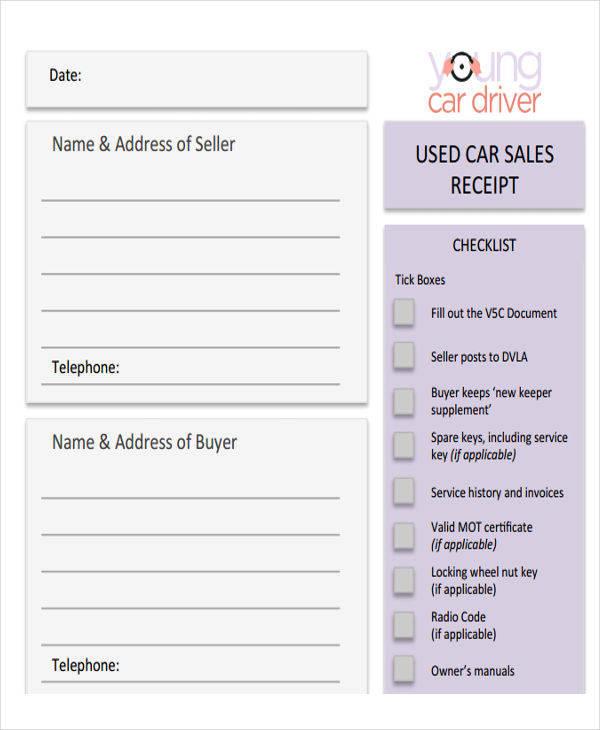 used vehicle sales receipt