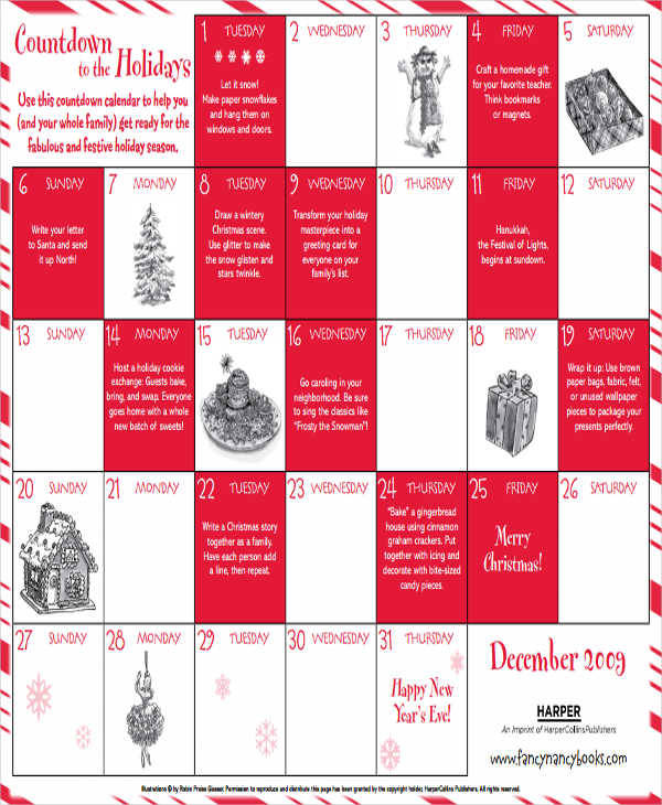 8  countdown calendar template