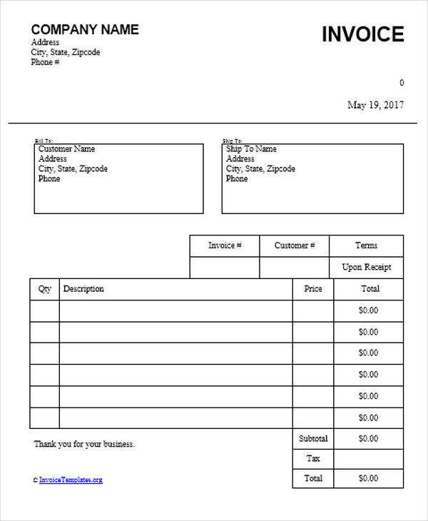 Vehicle Invoice Template  KakTakTk