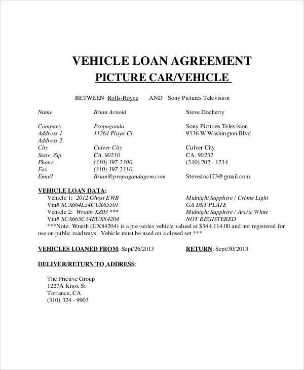 vehicle loan contract