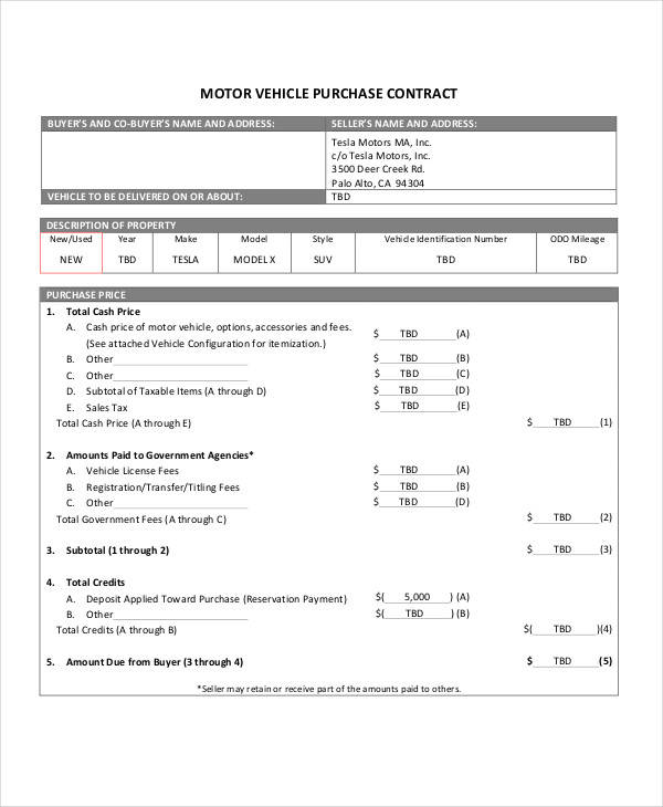 Purchase Contract Samples  Templates  Doc Pdf