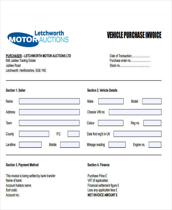 vehicle purchase invoice