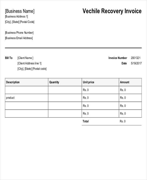vehicle recovery invoice1