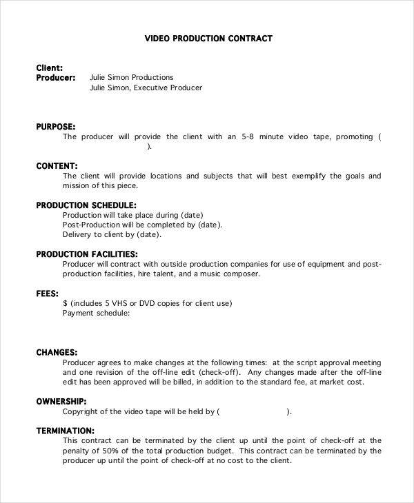 Video Production Contract Template  Contract Templates