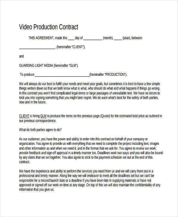 Production Contract Templates  Free Sample Example Format