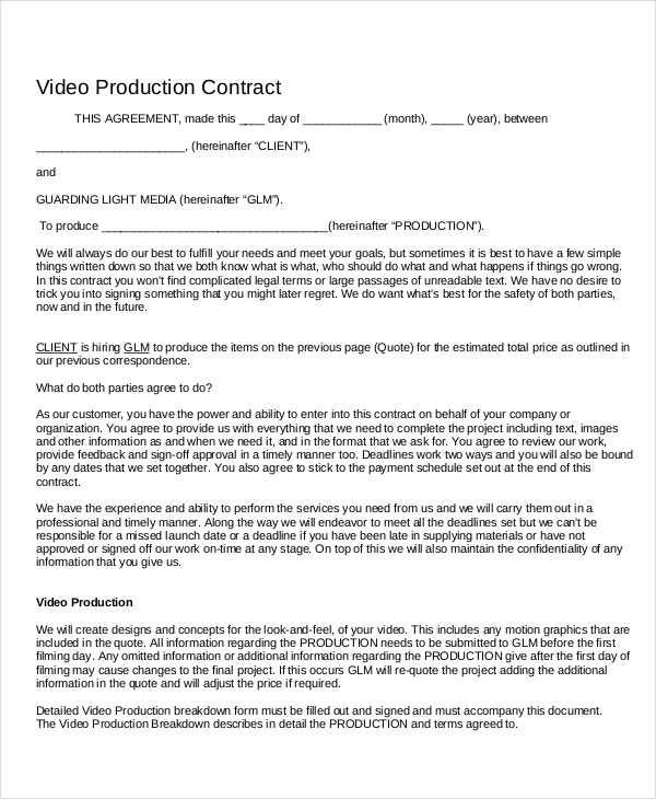 Beautiful Videography Contract Template Images  Best Resume