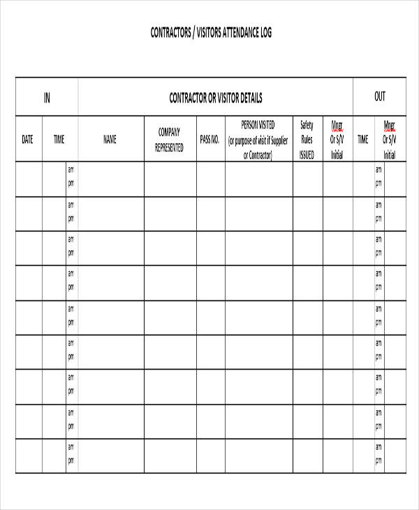 visitor log templates