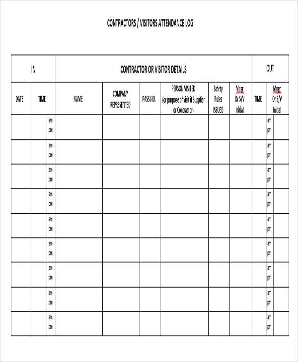 visitor attendance log