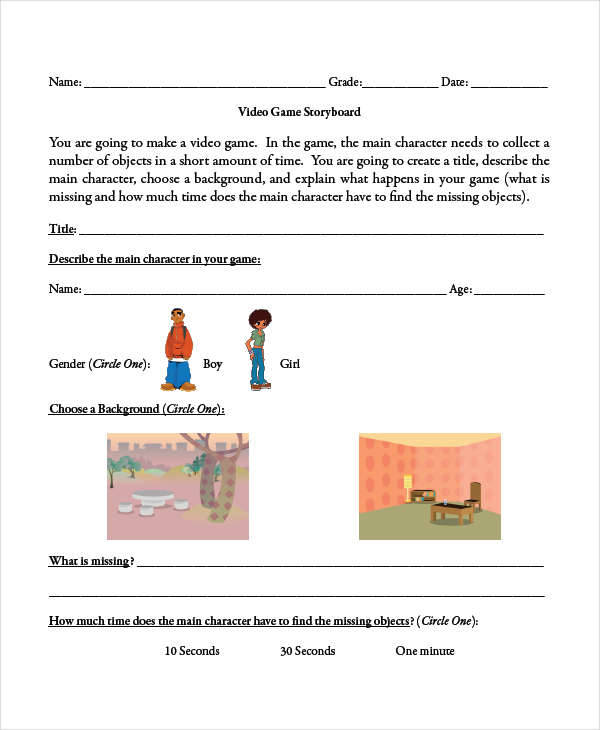 Visual Storyboard Sample  Free Sample Example Format Download
