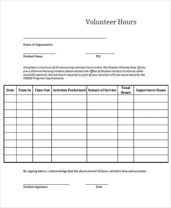 Volunteer Hours Form Template  LondaBritishcollegeCo