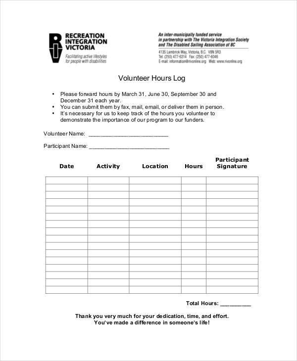 volunteer hours log