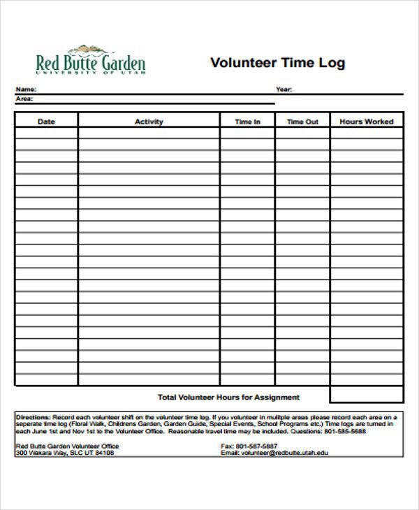 volunteer time log1