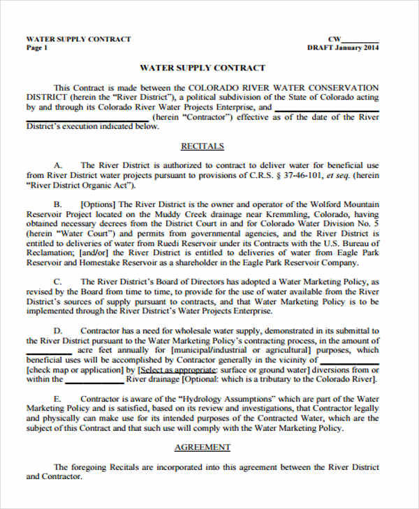 Supply Agreement Contract Coloradoriverdistrict Org Supply Contract