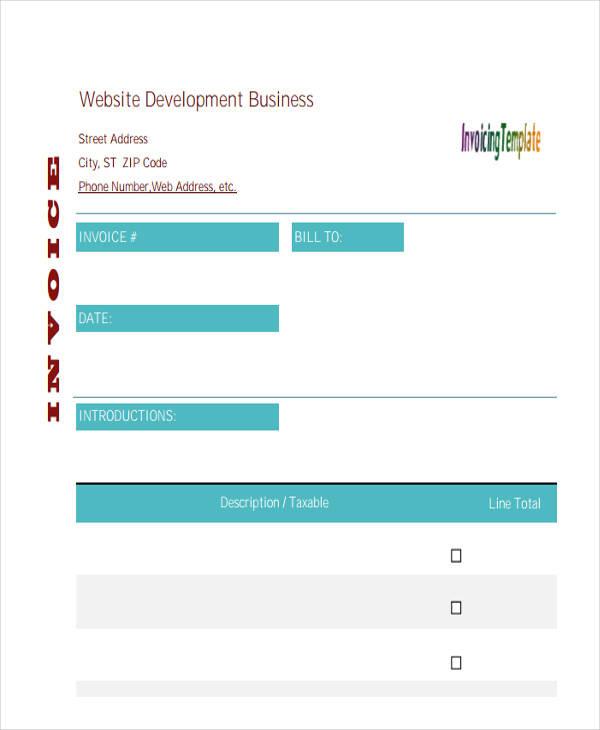 web page design invoice