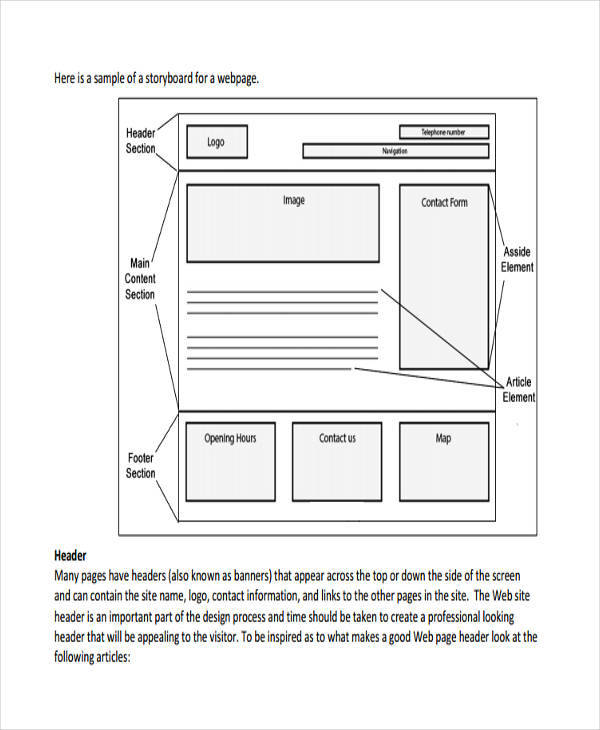 8 Website Storyboard Samples - Examples In Pdf
