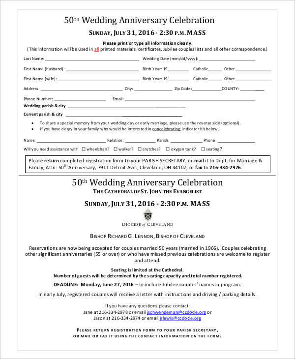 wedding anniversary program