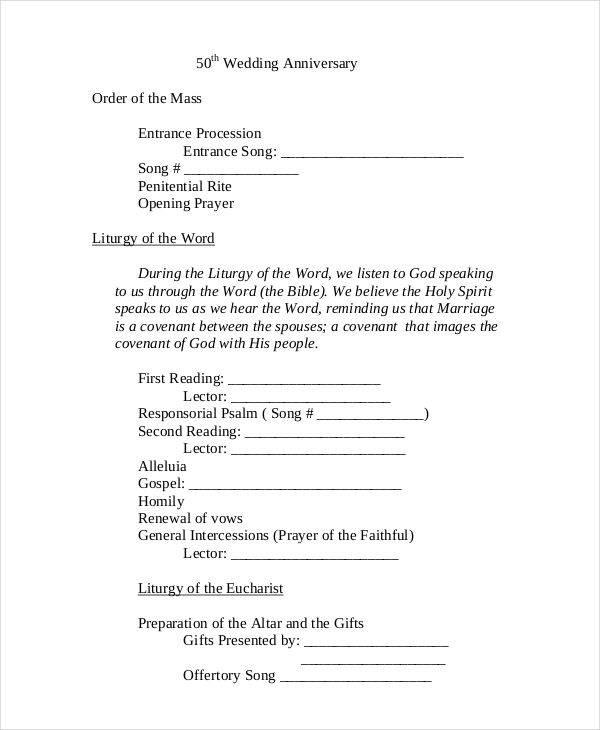 7 Wedding Programs Free Sample Example Format Download