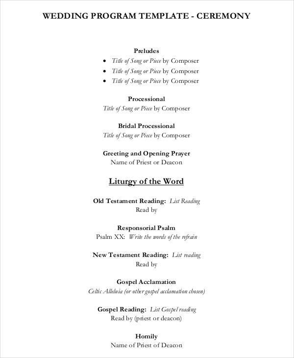 6 Wedding Program Free Sample Example Format Download
