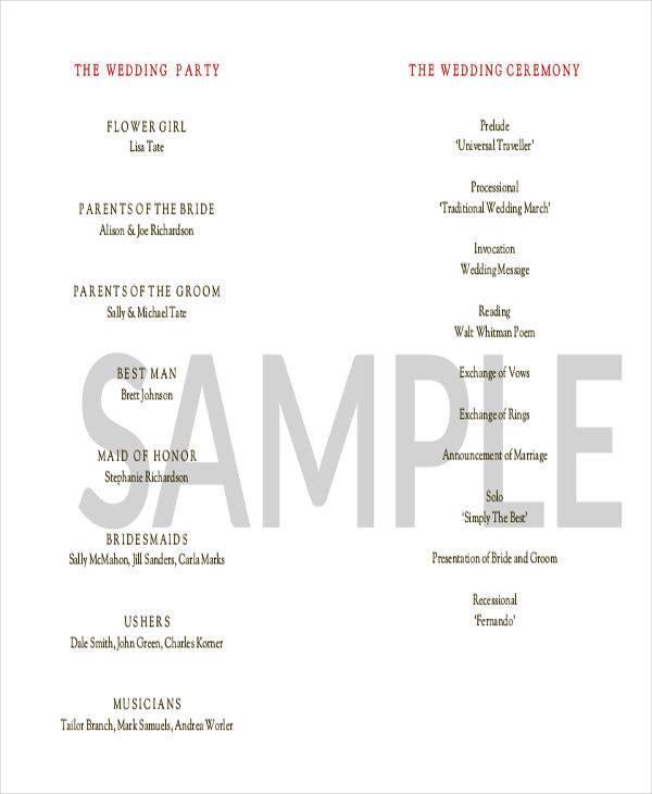 wedding event program1
