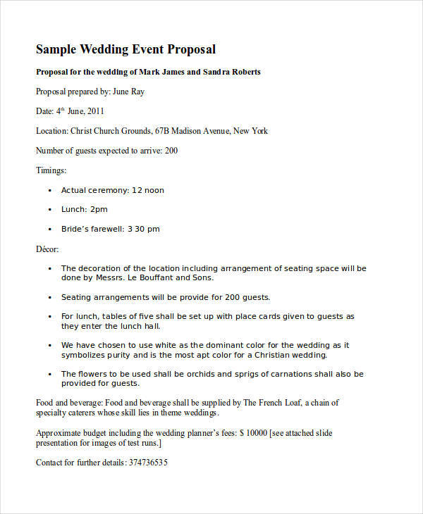 Event Proposal Letters Samples  Templates  Pdf Doc