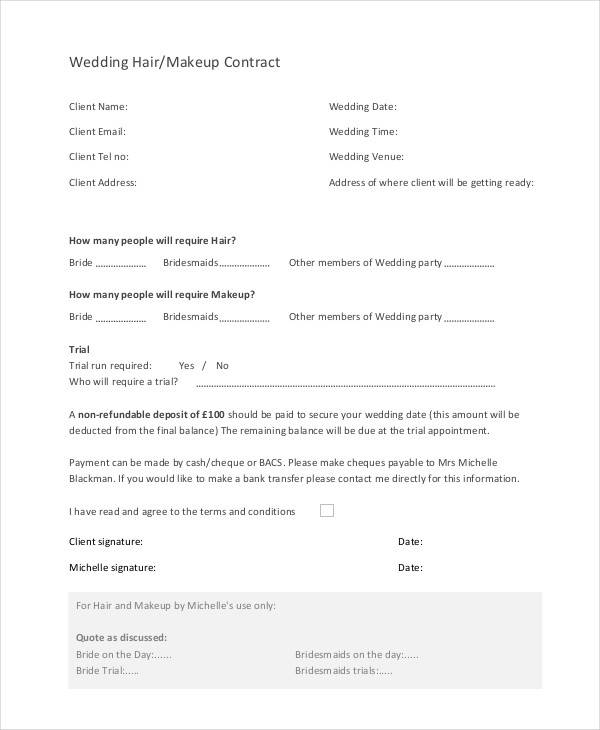 22 Wedding Contract Templates Free Sample Example - satukis.info
