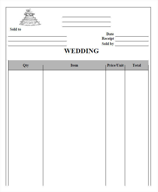 wedding photography receipt template