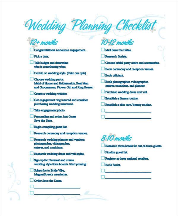 8+ Wedding Plan Samples & Templates In PDF, Word