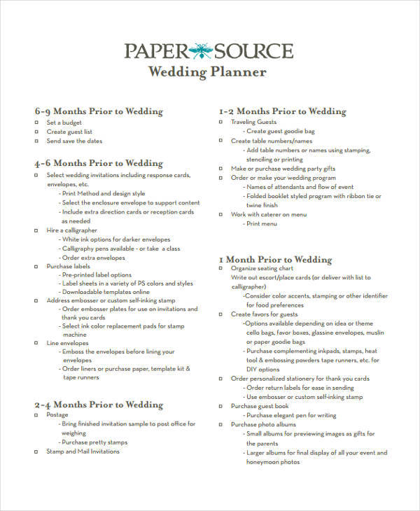 7+ Wedding Plan Samples & Templates In PDF