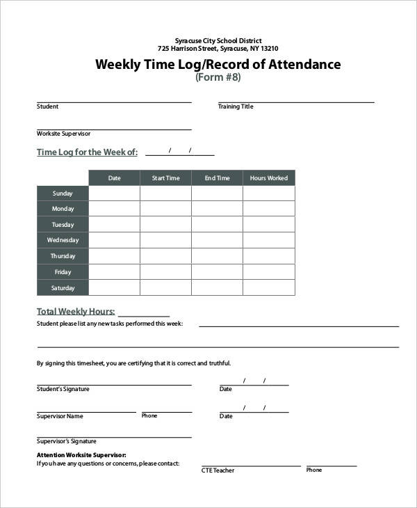 weekly attendance log