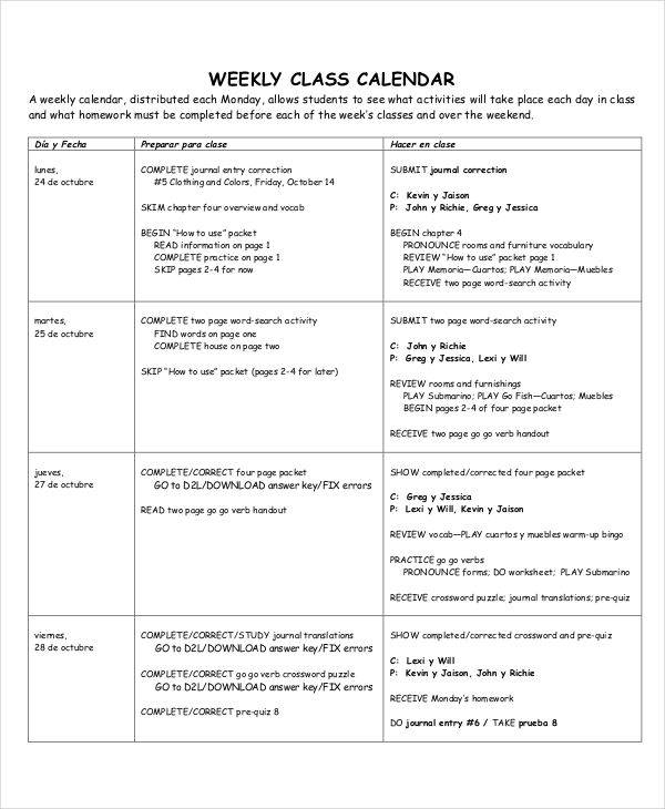 Classroom Calendar Template  Examples In WordPdf