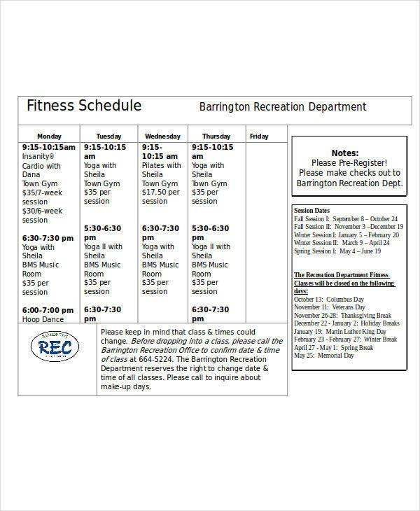 weekly fitness calendar1