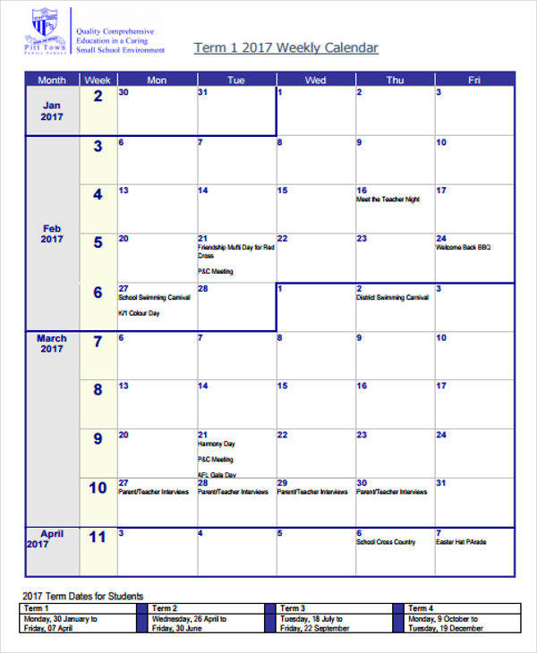 27 blank calendar templates sample templates for Weekly meeting calendar template