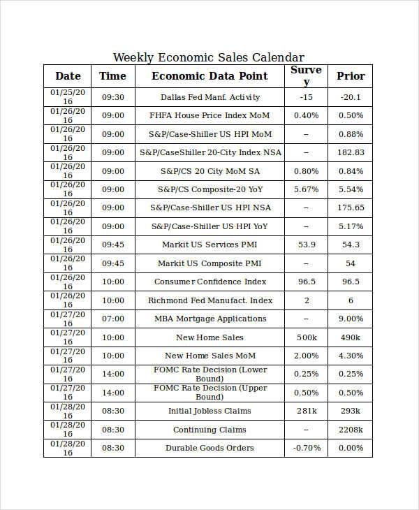 Weekly Sales Calendar