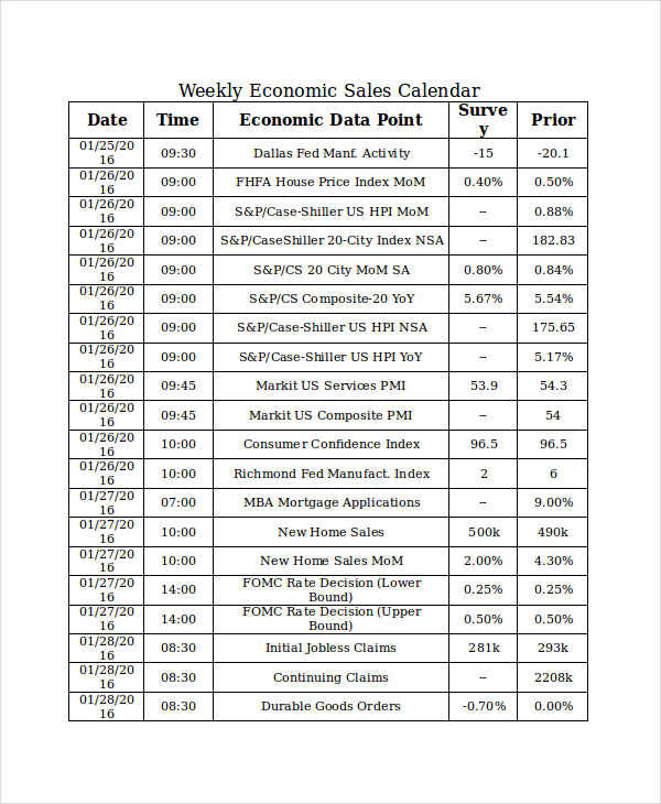 8  sales calendar templates