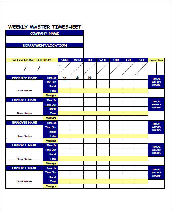 weekly timesheet calculator