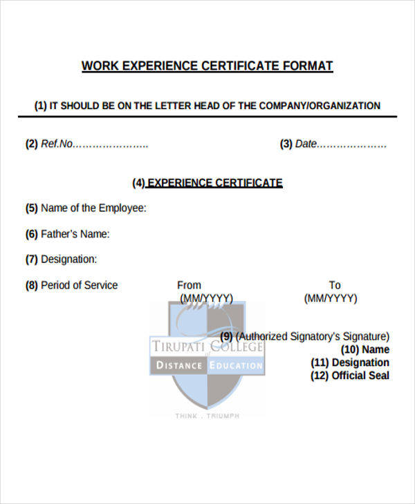 work experience certificate